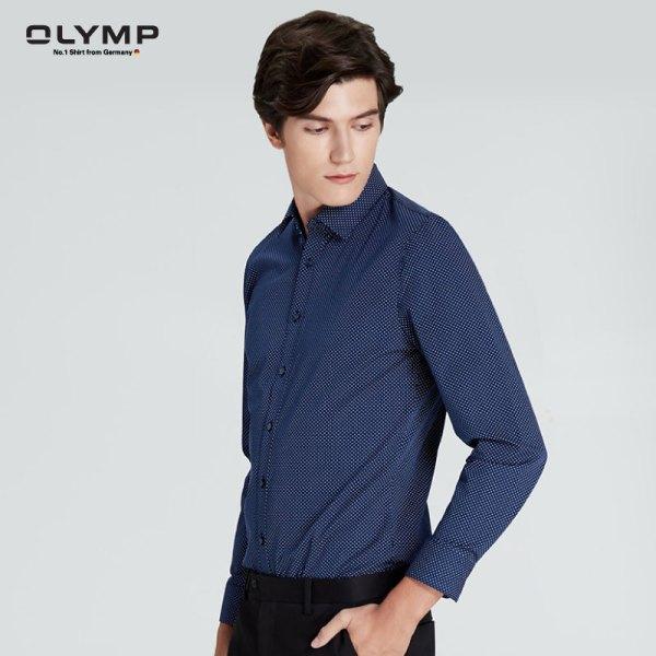 Olymp OLYMP เสื้อเชิ้ตแขนยาว ทรงเข้ารูป super slim สีน้ำเงิน พิมพ์ลายจุดสีขาว
