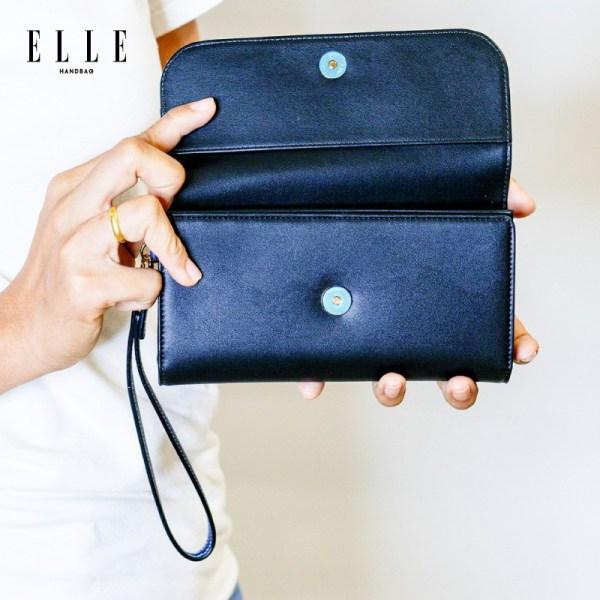 Elle Bag ELLE Bag กระเป๋าสตางค์ผู้หญิง ใส่ธนบัตร ใบยาว ผสมลายหนัง EXOTIC และสีคัลเลอร์บล็อค (EWW352)