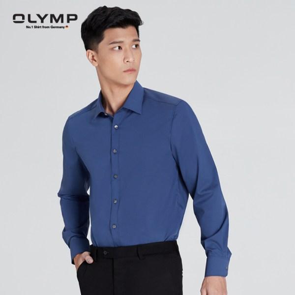 Olymp OLYMP เสื้อเชิ้ตผู้ชาย แขนยาว ทรงพอดีตัว Body Fit สีน้ำเงินเข้ม