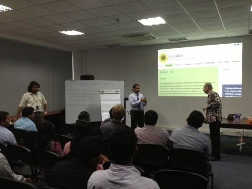 Meetup Organizers Ramindu Deshapriya and Chamindra de Silva with Tom Worthington