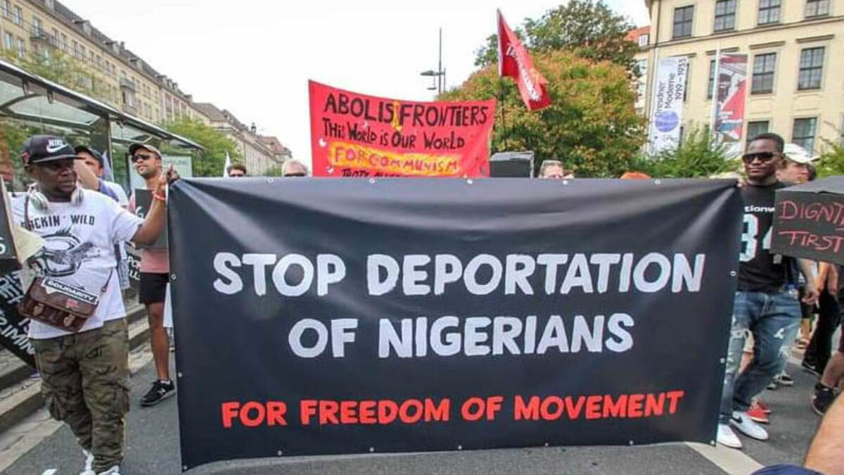 Nigerian activists protesting last year in Dresden at an event organised by the Voice Refugees Forum