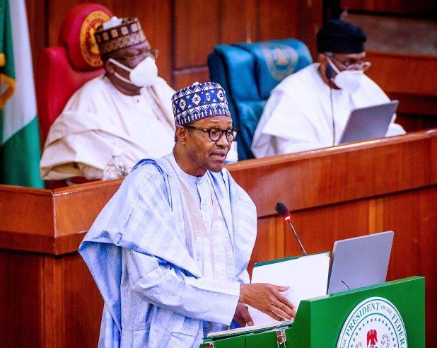 File Photo: President Buhari at National Assembly
