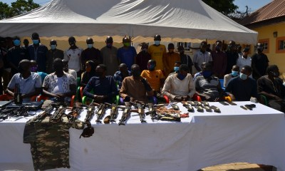 POLICE PARADE 35 SUSPECTS INCLUDING ONE FEMALE FOR ARMED ROBBERY, KIDNAPPING, OTHERS