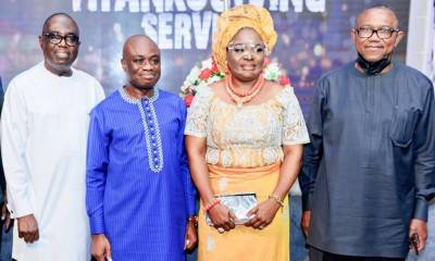 L-R: Former Chairman, Board of Directors, Fidelity Bank Plc, Mr. Ernest Ebi; Executive Director, Lagos & South-West, Fidelity Bank Plc, Dr. Ken Opara and his wife; Former Executive Governor, Anambra State, Peter Obi; at the thanksgiving Service organised by Dr. Ken Opara and family in Lagos ...Sunday