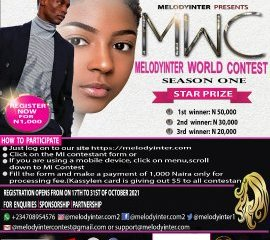 B-R-E-A-K-I-N-G: MELODYINTER ONLINE WORLD CONTEST SEASON 1 BEGINS MELODYINTER is an online contest fully registered and accredited by the social media community in which you and your family, relatives and friends can participate. The beauty of this innovative oline contest is all contestants would have the greatest privilege and opportunity to vote for each other through the MELODYINTER webpage created for the same purpose. According to the CEO/Founder of MELODYINTER, Olabiwonnu Oluwatosin Joseph, all friends, relatives and family members would be allowed to vote multipe times, or as they wish. Speaking further via a statement issued by his media aide, only the top three contestants with the highest number of votes would be awarded/win prizes monetarily. To participate for a chance to be the grand prize winner of the windfall, What you need to do is simple. Just alert your friends and family to proceed with the registration and to continue the voting as many times as possible, as the registration has fully commenced since Sunday 17th October, to end on 31st, October 2021. While engaging the media director, the organizers revealed that the official voting date and duration starts Monday 1st of November, to Friday 31st, December 2021, while award of prizes is scheduled to hold on Saturday 1st January, 2022; a great incentive to start off the new year for the potential winner! So, what better way is there than to dtart your new year with cash rewards from MELODYINTER? Kindly visit Melodyinter Team to register. https://melodyinter.com/miconstant-form/ Expecting you at the grand finale!