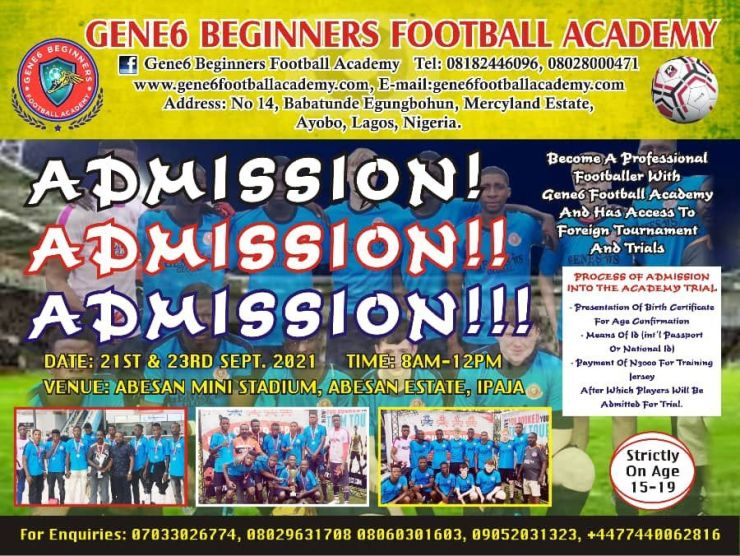 Gene6 Beginners Football Academy Taking Boys Out Of Street For International professional League