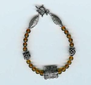 Amber and Bali-Style Sterling Silver Bracelet with Bali-Style Sterling Silver Rectangle