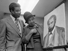 The Rev. Kelly Miller Smith, left, and Miss Frances Thompson, an artist and portrait painter, admire Miss Thompson's portrait Dec. 23, 1973 of the Rev. Nelson Merry, first pastor of the First Baptist Church, Capitol Hill. Merry pastored the church from 1853-1885 and his portrait is in the church's Nelson Merry room. Joe Rudis / The Tennessean