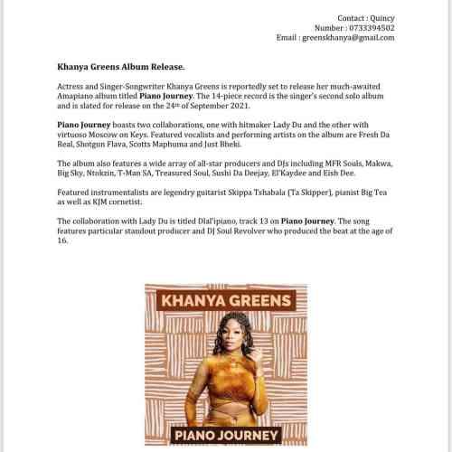 """Khanya Greens Shares """"Piano Journey Album"""""""