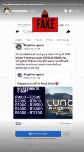Simz Ngema hammers counterfeit Facebook account –