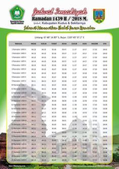 Jadwal Imsakiyah 1439 Ramadan 2018 - Kabupaten Kudus Jawa Tengah