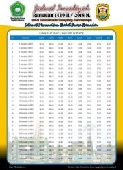 Jadwal Imsakiyah 1439 Ramadan 2018 - Kota Bandar Lampung