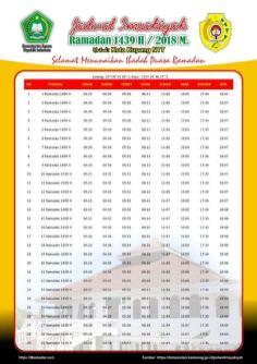 Jadwal Imsakiyah 1439 Ramadan 2018 - Kota Kupang NTT