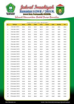 Jadwal Imsakiyah 1439 Ramadan 2018 - Kota Prabumulih SUMSEL
