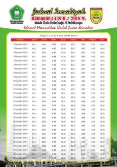 Jadwal Imsakiyah 1439 Ramadan 2018 - Sukoharjo Jawa Tengah