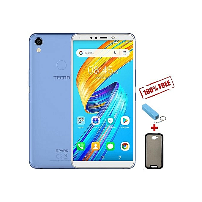 TECNO Spark 2 KA70 6 INCH HD Display 16GB 2GB RAM City Blue Free Power Bank Back Front