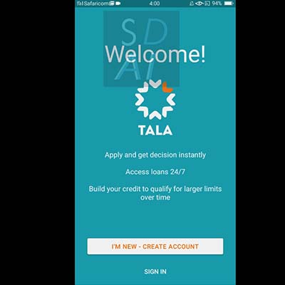 tala loan apply for tala loan tala application form select create account or sign in