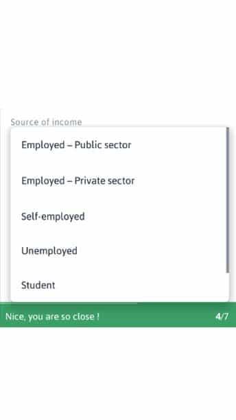 source of income registering for zenka loan app