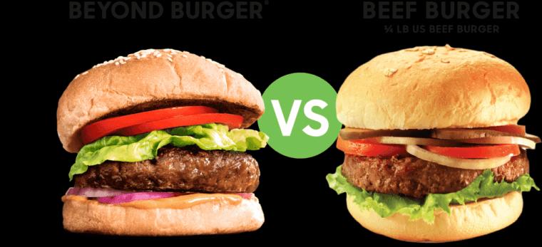 Plant-based burger vs meat burger