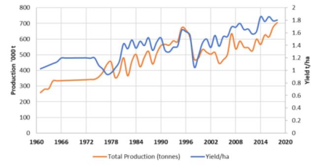 Figure 1. Honduran corn production and yields, 1961–2018