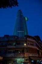 Bitexco Building downtown Saigon at night.