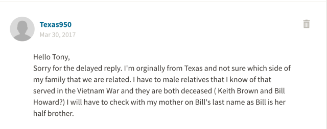 Message from Ancestry.com that I sent to the user Texas950 imploring her to connect with me and share her family tree