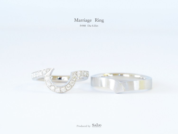SAIJOで作られた、重ね付けできるオーダーメイドの結婚指輪