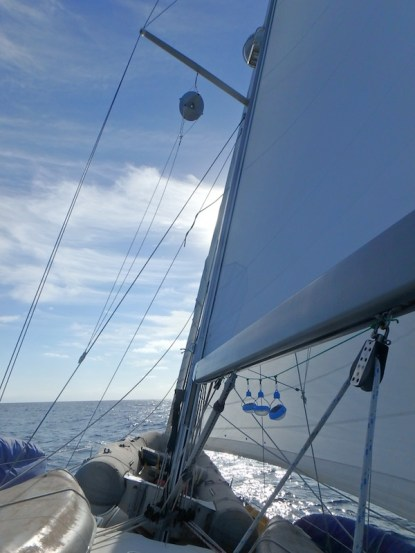 Perfect sailing conditions on passage