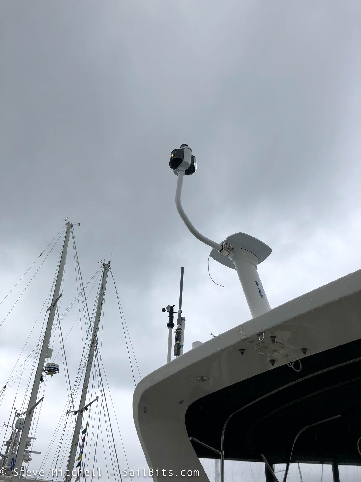 hight resolution of before i mounted the radar i tested the navigation lights and ensured the new wiring worked as part of this i removed the old anchor light mount from the