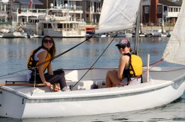 Brooke and Kelly taking out our club Capri 14s for a harbor cruise.