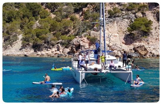 Mallorca catamaran trips on the anchorage