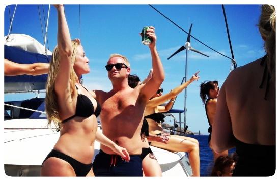 Mallorca catamaran trips party on the boat