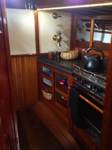 Heron interior layout - Galley looking forward on Schooner Heron