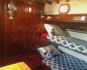 Heron interior layout - Main salon with bunks in position