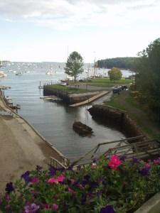 Rockport Harbor parking and footbridge