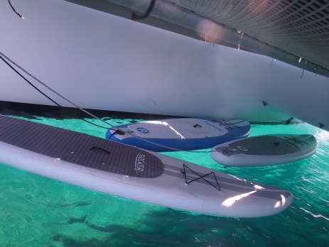 The 'garage' under the boat to protect the toys from the sun.