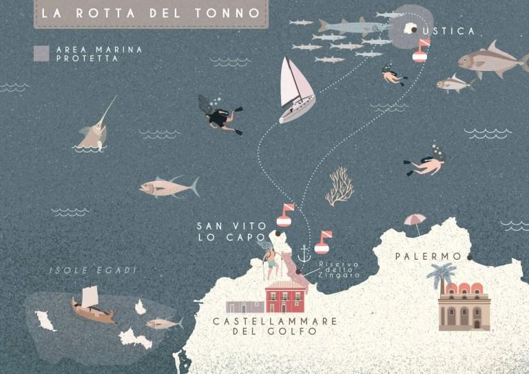 La rotta del tonno, Sailing Bubbles itinerario © Il cielo in una sogliola