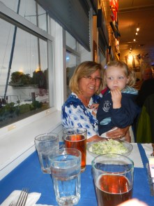 During dinner with Jack and Dawn at Pentwater Yacht Club, Claire insisted on cuddling with Dawn for the whole meal!