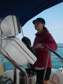 Alicia, my sister-in-law, takes the helm