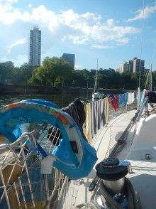 The sign of a successful day! Towels and swimsuits drying on the lifelines.