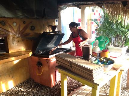 Churrasco for dinner at the gorgeous Cabarete Surf Camp, a 2-minute walk from our rental house
