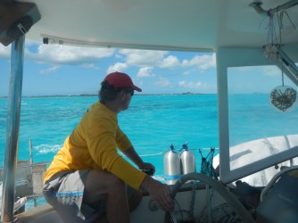 Aaron playing chicken with the numerous coral heads in the Turks waters