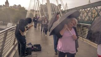 Das bisschen Regen macht weder unserem Musikergorilla noch den Passanten etwas aus