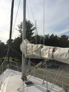 Installed newly repaired mainsail on May 29, 2015.