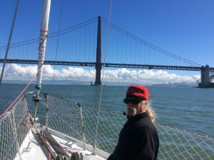 Jon mans the foredeck as we approach the Golden Gate Bridge