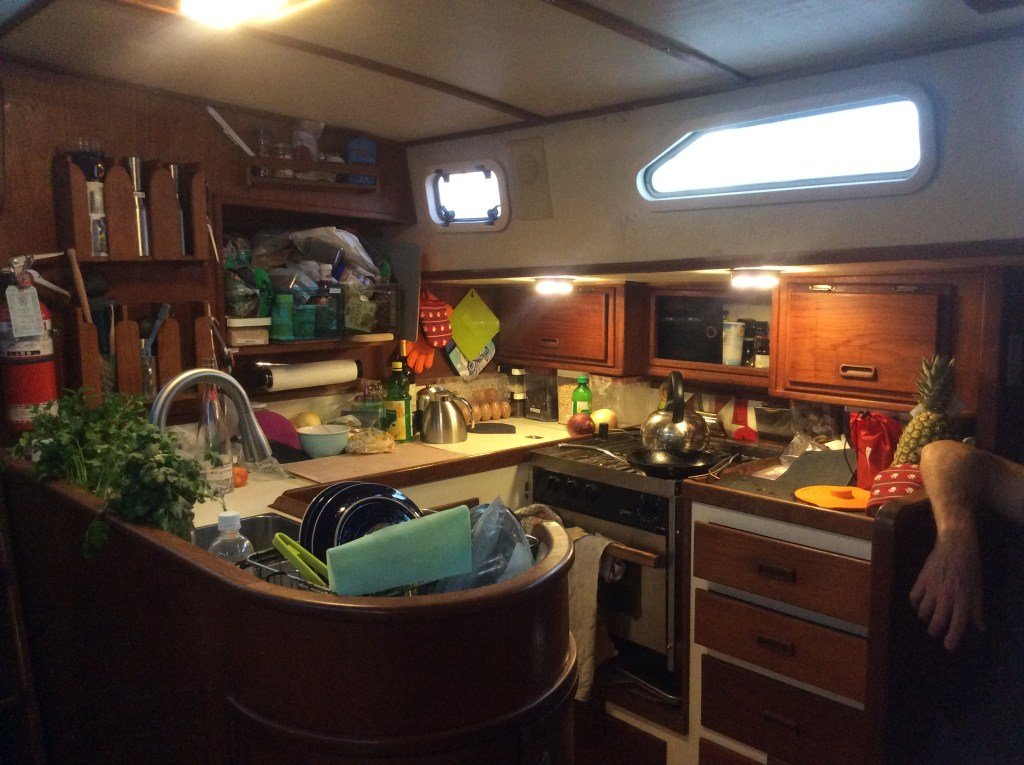Three Lunasea fixtures in our galley - two small round ones above the lower-ceilinged side counters and a large rectangular unit over the sink and near the companionway