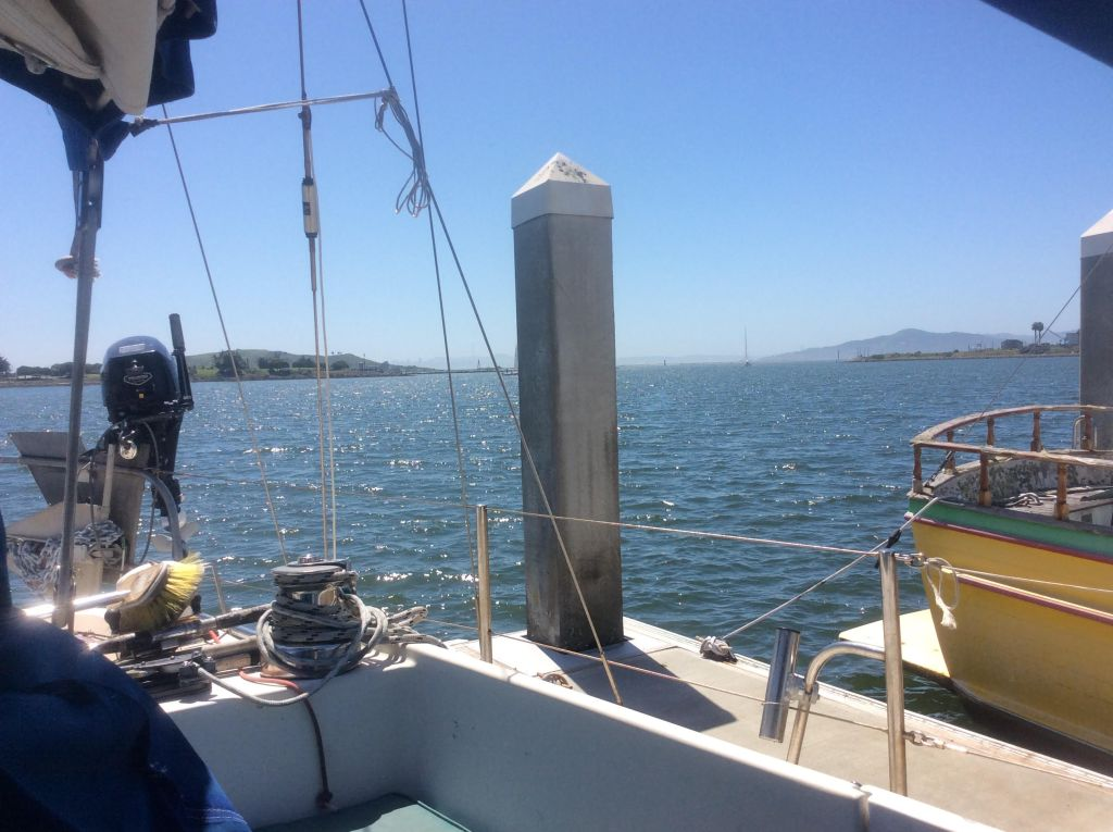 View from our cockpit out to Angel Island and San Francisco Bay