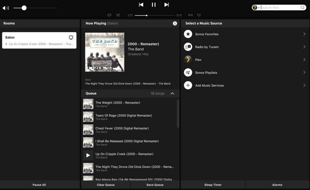 The Sonos dashboard showing the album cover and the list of songs.
