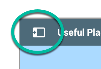Small right arrow on google maps to expand view