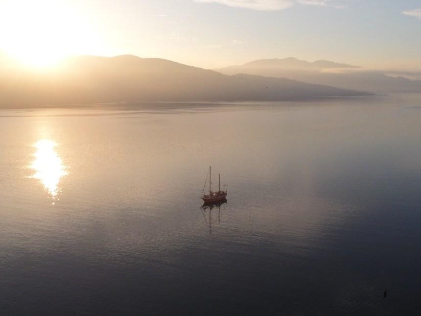 Seefalke at anchor at sunset